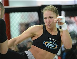 Feb 20, 2013; Torrance, CA, USA;  Ronda Rousey during today's public workout at the UFC gym for her bout with Liz Carmouche on Feb 23.  Mandatory Credit: Jayne Kamin-Oncea-USA TODAY Sports