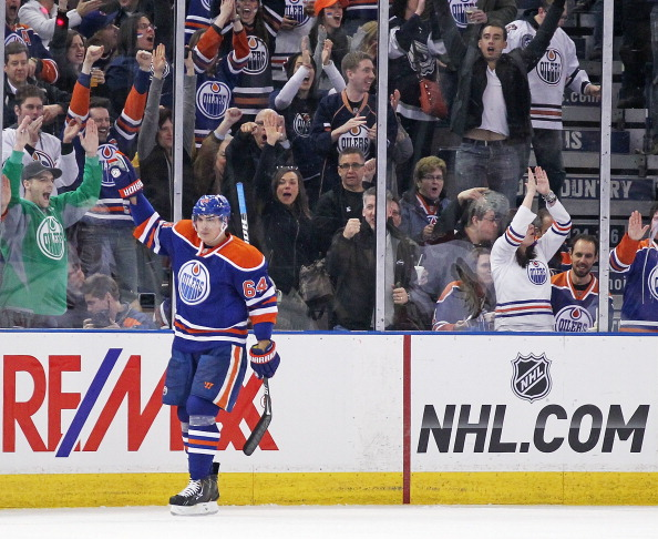EDMONTON, ALBERTA, CANADA. - April 10: Nail Yakupov #64 of the Edmonton Oilers celebrates his third period against the Phoenix Coyotes at Rexall Place on April 10, 2013 in Edmonton, Canada. (Photo by Perry Nelson/Getty Images)