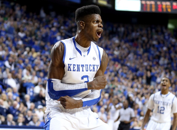 LEXINGTON, KY - DECEMBER 22:  Nerlens Noel #3 of the Ketnucky Wildcats celebrates during the game against the Marshall Thundering Herd at Rupp Arena on December 22, 2012 in Lexington, Kentucky.  (Photo by Andy Lyons/Getty Images)