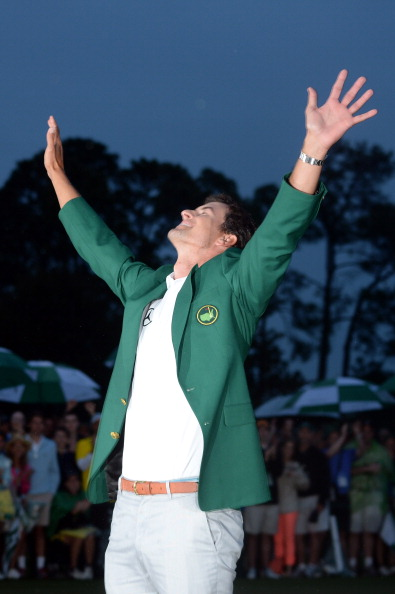 AUGUSTA, GA - APRIL 14:  Adam Scott of Australia smiles while wearing his green jacket after winning the 2013 Masters Tournament at Augusta National Golf Club on April 14, 2013 in Augusta, Georgia.  (Photo by Harry How/Getty Images)