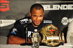 May 19, 2012; San Jose, CA, USA; Daniel Cormier addresses the media in a press conference after defeating Josh Barnett (not pictured) during the heavyweight tournament final bout of the Strikeforce World Grand Prix at HP Pavilion.  Mandatory Credit: Kyle Terada-USA TODAY Sports