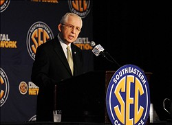 July 17, 2012; Hoover, AL, USA;  SEC commissioner Mike Slive speaks at a press conference during the 2012 SEC media days event at the Wynfrey Hotel.   Mandatory Credit: Kelly Lambert-USA TODAY Sports