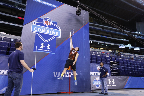 INDIANAPOLIS, IN - FEBRUARY 23: Luke Joeckel of Texas A&M takes part in the vertical jump during the 2013 NFL Combine at Lucas Oil Stadium on February 23, 2013 in Indianapolis, Indiana. (Photo by Joe Robbins/Getty Images)