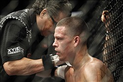 Dec 8, 2012, Seattle, WA, USA; Ben Henderson (not pictured) fights Nate Diaz during their second round Championship lightweight bout at MMA on FOX 5 at Key Arena. Mandatory Credit: Joe Nicholson-USA TODAY Sports