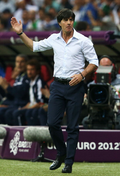 WARSAW, POLAND - JUNE 28:  Head Coach Joachim Loew of Germany reacts during the UEFA EURO 2012 semi final match between Germany and Italy at the National Stadium on June 28, 2012 in Warsaw, Poland.  (Photo by Joern Pollex/Getty Images)