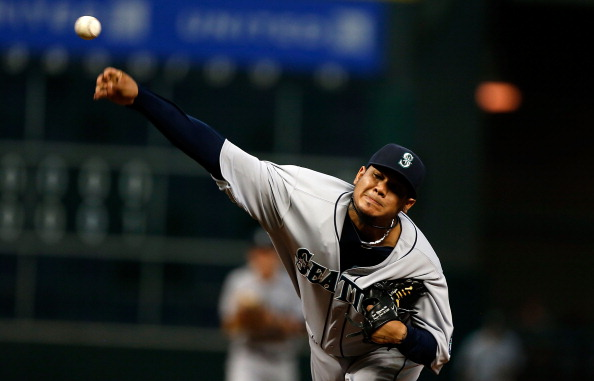 HOUSTON, TX - APRIL 22:  Felix Hernandez #34 of the Seattle Mariners throws a pitch during the second inning of the game against the Houston Astros at Minute Maid Park on April 22, 2013 in Houston, Texas.  (Photo by Scott Halleran/Getty Images)
