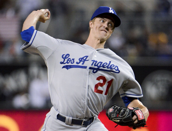 SAN DIEGO, CA - APRIL 11: Zack Greinke #21 of the Los Angeles Dodgers pitches during the first inning of a baseball game against the San Diego Padres at Petco Park on April 11, 2013 in San Diego, California. (Photo by Denis Poroy/Getty Images)
