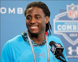 Feb 23, 2013; Indianapolis, IN, USA;  Michigan Wolverines wide receiver Denard Robinson speaks at a press conference during the 2013 NFL Combine at Lucas Oil Stadium. Credit: Pat Lovell-USA TODAY Sports