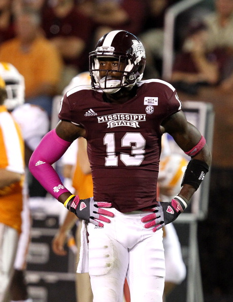 STARKVILLE, MS - OCTOBER 13:  Defensive back Johnthan Banks #13 of the Mississippi State Bulldogs looks to the sidelines for a play during their game against the Tennessee Volunteers on October 13, 2012 at Davis Wade Stadium in Starkville, Mississippi. (Photo by Butch Dill/Getty Images)