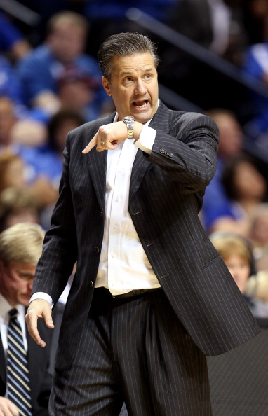 NASHVILLE, TN - MARCH 15:  Head coach John Calipari of the Kentucky Wildcats gestures from the sidelines in the second half against the Vanderbilt Commodores during the Quarterfinals of the SEC basketball tournament at Bridgestone Arena on March 15, 2013 in Nashville, Tennessee.  (Photo by Andy Lyons/Getty Images)