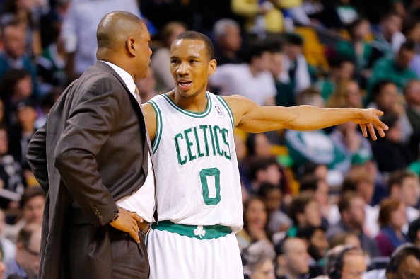 BOSTON, MA - APRIL 3:  Avery Bradley #0 of the Boston Celtics talks with head coach Doc Rivers during action against the Detroit Pistons during the game on April 3, 2013 at TD Garden in Boston, Massachusetts. NOTE TO USER: User expressly acknowledges and agrees that, by downloading and or using this photograph, User is consenting to the terms and conditions of the Getty Images License Agreement. (Photo by Jared Wickerham/Getty Images)
