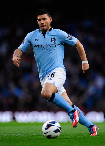 MANCHESTER, ENGLAND - APRIL 17:  Sergio Aguero of Manchester City in action during the Barclays Premier League match between Manchester City and Wigan Athletic at the Etihad Stadium on April 17, 2013 in Manchester, England.  (Photo by Stu Forster/Getty Images)