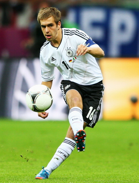 WARSAW, POLAND - JUNE 28:  Philipp Lahm of Germany in action during the UEFA EURO 2012 semi final match between Germany and Italy at the National Stadium on June 28, 2012 in Warsaw, Poland.  (Photo by Michael Steele/Getty Images)