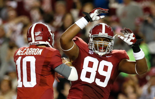 TUSCALOOSA, AL - OCTOBER 27:  Michael Williams #89 of the Alabama Crimson Tide celebrates a touchdown reception from AJ McCarron #10 against the Mississippi State Bulldogs at Bryant-Denny Stadium on October 27, 2012 in Tuscaloosa, Alabama.  (Photo by Kevin C. Cox/Getty Images)
