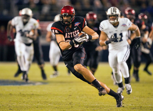 SAN DIEGO, CA - DECEMBER 20: Gavin Escobar #88 of the San Diego State Aztecs runs with the ball in the first half of the game against the BYU Cougars in the Poinsettia Bowl at Qualcomm Stadium on December 20, 2012 in San Diego, California. (Photo by Kent C. Horner/Getty Images)