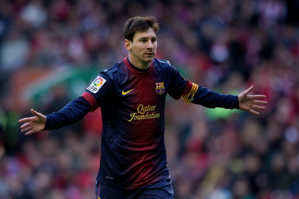 BILBAO, SPAIN - APRIL 27:  Lionel Messi of FC Barcelona celebrates scoring their opening goal during the La Liga match between Athletic Club de Bilbaoand FC Barcelona at San Mames Stadium on April 27, 2013 in Bilbao, Spain.  (Photo by Gonzalo Arroyo Moreno/Getty Images)