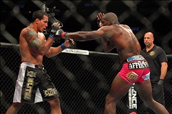Apr 27, 2013; Newark, NJ, USA; Phil Davis (red shorts) competes against Vinny Magalhaes (black shorts) during UFC 159 at the Prudential Center. Mandatory Credit: Brad Penner-USA TODAY Sports