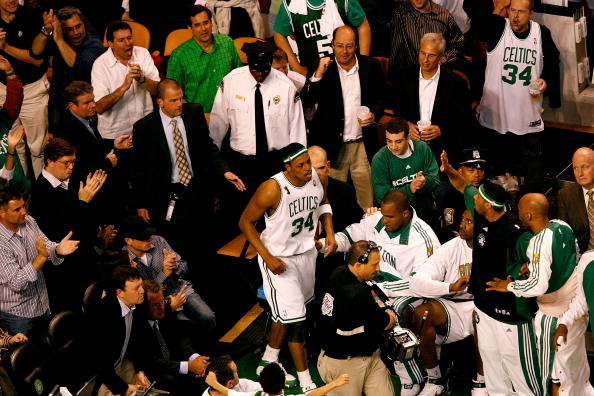BOSTON - JUNE 05:  Paul Pierce #34 of the Boston Celtics returns to the court after being taken off in a wheelchair in the third quarter of Game One of the 2008 NBA Finals against the Los Angeles Lakers on June 5, 2008 at TD Banknorth Garden in Boston, Massachusetts. NOTE TO USER: User expressly acknowledges and agrees that, by downloading and/or using this Photograph, user is consenting to the terms and conditions of the Getty Images License Agreement.  (Photo by Kevin C. Cox/Getty Images)