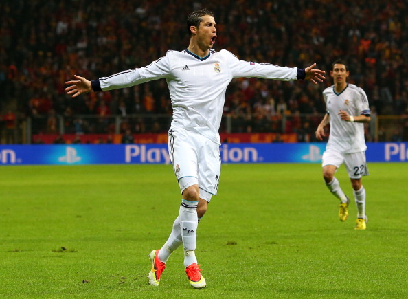 ISTANBUL, TURKEY - APRIL 09:  Cristiano Ronaldo of Real Madrid celebrates scoring the opening goal during the UEFA Champions League Quarter Final match between Galatasaray AS and Real Madrid at the Turk Telekom Arena on April 9, 2013 in Istanbul, Turkey.  (Photo by Alex Livesey/Getty Images)
