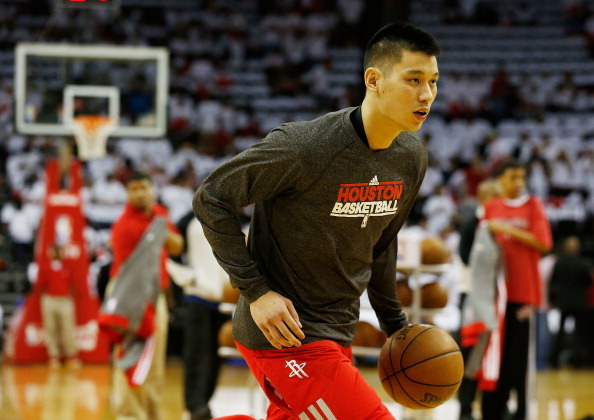 HOUSTON, TX - APRIL 27:  Jeremy Lin #7 of the Houston Rockets waits on the court before meeting the Oklahoma Thunder in Game Three of the Western Conference Quarterfinals of the 2013 NBA Playoffs at the Toyota Center on April 27, 2013 in Houston, Texas. NOTE TO USER: User expressly acknowledges and agrees that, by downloading and or using this photograph, User is consenting to the terms and conditions of the Getty Images License Agreement. (Photo by Scott Halleran/Getty Images) .  (Photo by Scott Halleran/Getty Images)