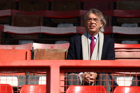 LONDON, ENGLAND - MARCH 25:  President Massimo Moratti of FC Internazionale Milano looks on during the NextGen Series Final between Ajax U19 and Inter Milan U19 at Matchroom Stadium on March 25, 2012 in London, England.  (Photo by Julian Finney/Getty Images)
