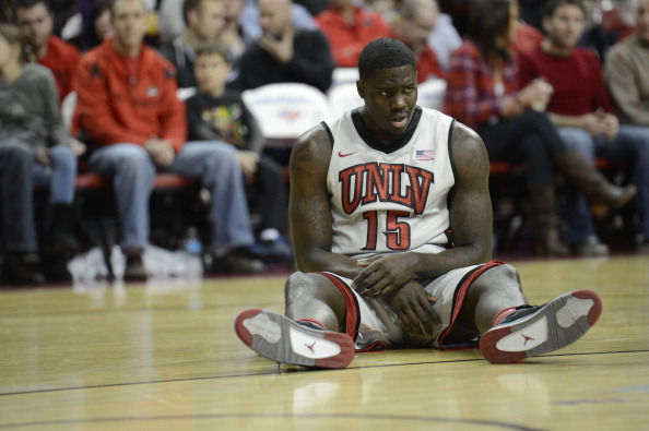 LAS VEGAS, NV - JANUARY 12: Anthony Bennett #15 of the UNLV Rebels stays on the ground after getting a foul called on him during the game against the Air Force Falcons at the Thomas & Mack Center on January 12, 2013 in Las Vegas, Nevada. The Rebels won 76-71.  (Photo by Jeff Bottari/Getty Images)