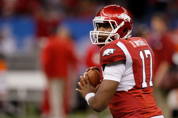NEW ORLEANS, LA - JANUARY 04:  Brandon Mitchell #17 of the Arkansas Razorbacks warms up before taking on the Ohio State Buckeyes during the Allstate Sugar Bowl at the Louisiana Superdome on January 4, 2011 in New Orleans, Louisiana.  (Photo by Kevin C. Cox/Getty Images)