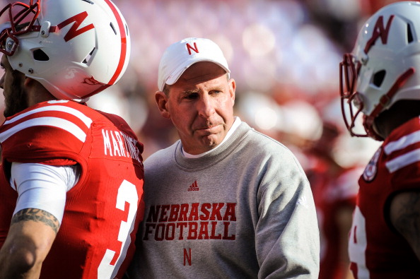 LINCOLN, NE - NOVEMBER 17: Nebraska Cornhuskers head coach Bo Pelini eyes his troops  before their game against the Minnesota Golden Gophers at Memorial Stadium on November 17, 2012 in Lincoln, Nebraska. (Photo by Eric Francis/Getty Images)
