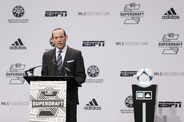 INDIANAPOLIS, IN - JANUARY 17: MLS commissioner Don Garber speaks prior to the 2013 MLS SuperDraft Presented by Adidas at the Indiana Convention Center on January 17, 2013 in Indianapolis, Indiana. (Photo by Joe Robbins/Getty Images)