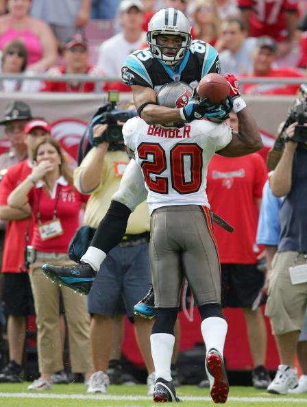 TAMPA, FL - NOVEMBER 6:  Steve Smith #89 attempts to catch a pass while defended by Ronde Barber #20 of the Tampa Bay Buccaneers at Raymond James Stadium on November 6, 2005 in Tampa, Florida.    (Photo by Andy Lyons/Getty Images)