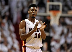 May 15, 2013; Miami, FL, USA; Miami Heat point guard Norris Cole (30) reacts during the second half against the Chicago Bulls in game five of the second round of the 2013 NBA Playoffs at American Airlines Arena. Miami Heat won 94-91. Mandatory Credit: Steve Mitchell-USA TODAY Sports