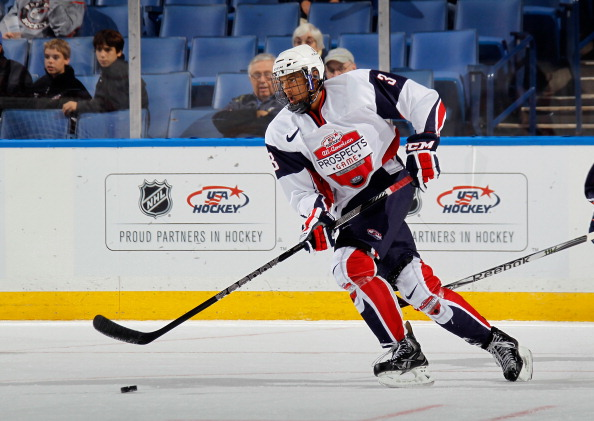 BUFFALO, NY - SEPTEMBER 29:  Seth Jones #3 of Team McClanahan skates against Team Housley at the USA Hockey All-American Prospects Game at the First Niagara Center on September 29, 2012 in Buffalo, New York.  (Photo by Bruce Bennett/Getty Images)