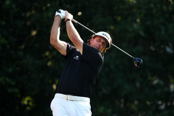 PONTE VEDRA BEACH, FL - MAY 10:  Phil Mickelson of the USA plays a shot from the 11th tee during round two of THE PLAYERS Championship at THE PLAYERS Stadium course at TPC Sawgrass on May 10, 2013 in Ponte Vedra Beach, Florida.  (Photo by Richard Heathcote/Getty Images)