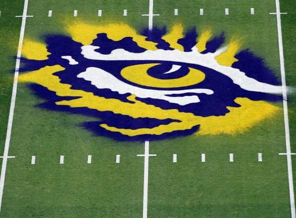 BATON ROUGE, LA - OCTOBER 22:  A detail of the logo on the field of the LSU Tigers prior to the the game against the Auburn Tigers at Tiger Stadium on October 22, 2011 in Baton Rouge, Louisiana.  (Photo by Jamie Squire/Getty Images)