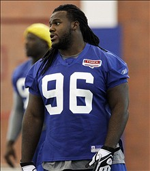 July 30, 2011; East Rutherford, NJ, USA; New York Giants player Marvin Austin during training camp at the Giants training facility. Mandatory Credit: William Perlman/THE STAR-LEDGER via USA TODAY Sports