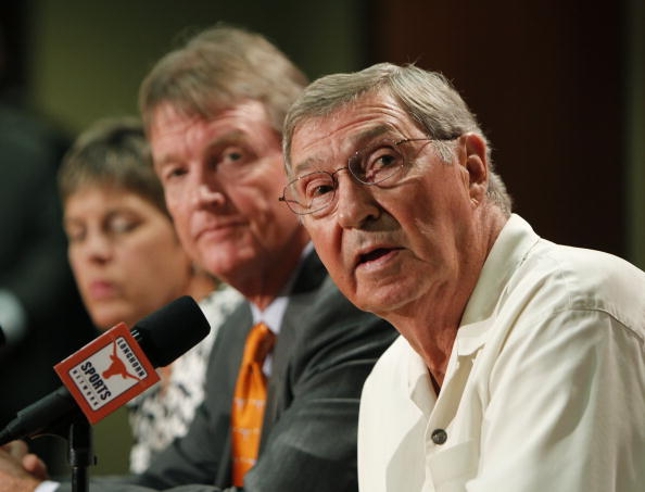 AUSTIN, TX - JUNE 15:  University of Texas at Austin Men's Athletics Director DeLoss Dodds, right, University President William Powers Jr., center, and Women's Athletics Director Chris Plonskon announce the athletics programs will continue competing in the Big 12 Conference June 15, 2010 in Austin, Texas.  (Photo by Erich Schlegel/Getty Images)