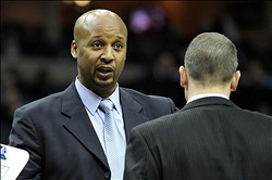 Jan 21, 2013; Memphis, TN, USA; Indiana Pacers assistant head coach Brian Shaw talks during the game against the Memphis Grizzlies at the FedEx Forum. Indiana defeated Memphis 82-81. Mandatory Credit: Nelson Chenault-USA TODAY Sports