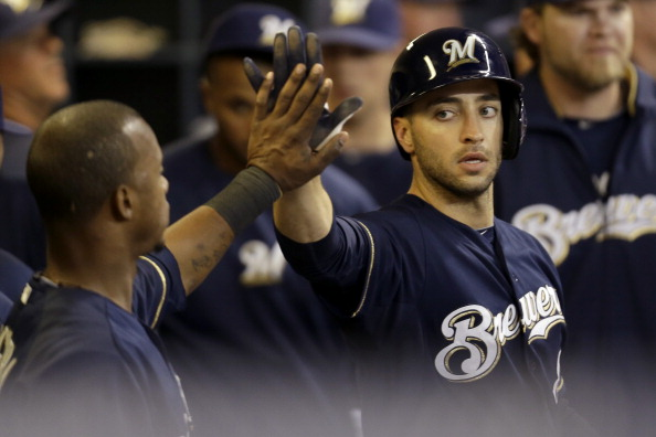 MILWAUKEE, WI - MAY 08: Ryan Braun #8 of the Milwaukee Brewers celebrates after reaching home on a double hit by Aramis Ramirez in the bottom of the sixth inning against the Texas Rangers at Miller Park on May 08, 2013 in Milwaukee, Wisconsin. (Photo by Mike McGinnis/Getty Images)