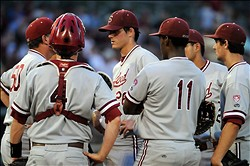 June 8, 2012; Tallahassee, FL, USA; Stanford Cardinal pitcher Mark Appel (26) is met at the mound by teammates during the fourth inning of game one of the Tallahassee super regional against the Florida State Seminoles at Dick Howser Stadium.  Mandatory Credit: Melina Vastola-USA TODAY Sports