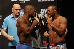 Jun 14, 2013; Winnipeg, Manitoba, Canada; Rashad Evans and Dan Henderson square off during the weigh in at UFC 161 at the MTS Center. Mandatory Credit: Bruce Fedyck-USA TODAY Sports