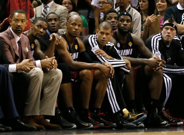 SAN ANTONIO, TX - JUNE 16:  (L-R) Juwan Howard #5, Chris Bosh #1, Ray Allen #34, Shane Battier #31, LeBron James #6 and Udonis Haslem #40 of the Miami Heat sit on the bench late in the fourth quarter while taking on the San Antonio Spurs during Game Five of the 2013 NBA Finals at the AT&T Center on June 16, 2013 in San Antonio, Texas. NOTE TO USER: User expressly acknowledges and agrees that, by downloading and or using this photograph, User is consenting to the terms and conditions of the Getty Images License Agreement.  (Photo by Kevin C. Cox/Getty Images)