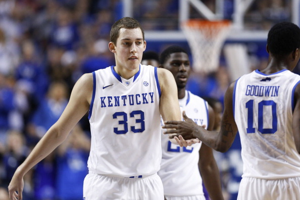LEXINGTON, KY - DECEMBER 15: Kyle Wiltjer #33 of the Kentucky Wildcats celebrates with teammates after hitting a three-point basket against the Lipscomb Bisons during the game at Rupp Arena on December 15, 2012 in Lexington, Kentucky. Kentucky won 88-50. (Photo by Joe Robbins/Getty Images)