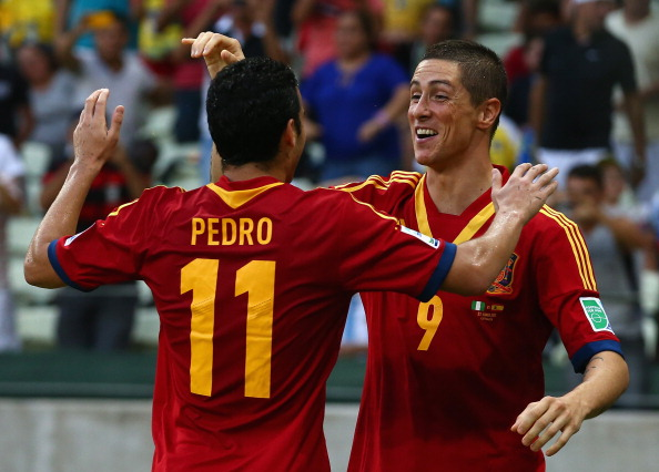 FORTALEZA, BRAZIL - JUNE 23:  Fernando Torres of Spain celebrates with Pedro (11) as he scores their second goal during the FIFA Confederations Cup Brazil 2013 Group B match between Nigeria and Spain at Castelao on June 23, 2013 in Fortaleza, Brazil.  (Photo by Robert Cianflone/Getty Images)