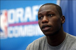 May 16, 2013; Chicago, IL, USA; Gorgui Dieng is interviewed during the NBA Draft combine at Harrison Street Athletics Facility. Mandatory Credit: Jerry Lai-USA TODAY Sports