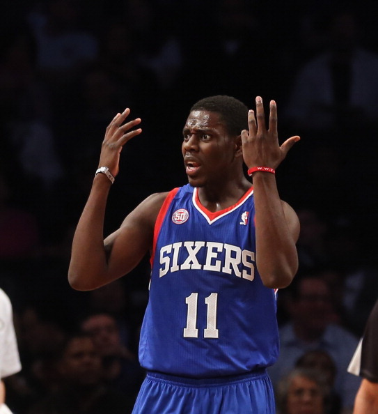 NEW YORK, NY - DECEMBER 23:  Jrue Holiday #11 of the Philadelphia 76ers plays against the Brooklyn Nets at Barclays Center on December 23, 2012 in the Brooklyn borough of New York City. NOTE TO USER: User expressly acknowledges and agrees that, by downloading and/or using this photograph, user is consenting to the terms and conditions of the Getty Images License Agreement.  (Photo by Bruce Bennett/Getty Images)