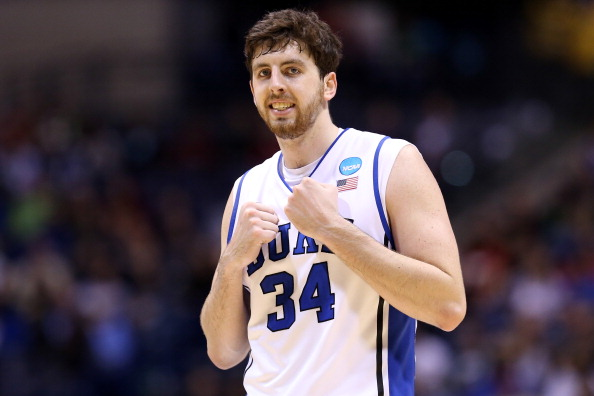 INDIANAPOLIS, IN - MARCH 29:  Ryan Kelly #34 of the Duke Blue Devils reacts in the second half against the Michigan State Spartans during the Midwest Region Semifinal round of the 2013 NCAA Men's Basketball Tournament at Lucas Oil Stadium on March 29, 2013 in Indianapolis, Indiana.  (Photo by Streeter Lecka/Getty Images)