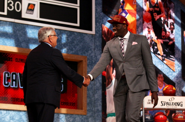 NEW YORK, NY - JUNE 27:  Anthony Bennett (R) of UNLV greets NBA Commissioner David Stern after Bennett was drafted #1 overall in the first round by the Cleveland Cavaliers during the 2013 NBA Draft at Barclays Center on June 27, 2013 in in the Brooklyn Bourough of New York City.  NOTE TO USER: User expressly acknowledges and agrees that, by downloading and/or using this Photograph, user is consenting to the terms and conditions of the Getty Images License Agreement.  (Photo by Mike Stobe/Getty Images)