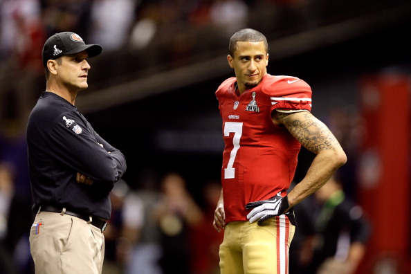 NEW ORLEANS, LA - FEBRUARY 03:  Head coach Jim Harbaugh and Colin Kaepernick #7 of the San Francisco 49ers look on against the Baltimore Ravens during Super Bowl XLVII at the Mercedes-Benz Superdome on February 3, 2013 in New Orleans, Louisiana.  (Photo by Ezra Shaw/Getty Images)