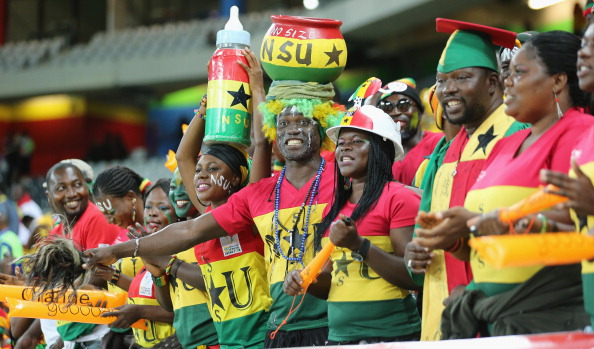 NELSPRUIT, SOUTH AFRICA - FEBRUARY 06:  Ghana fans during the 2013 Africa Cup of Nations Semi-Final match between Burkina Faso and Ghana at the Mbombela Stadium on February 6, 2013 in Nelspruit, South Africa.  (Photo by Ian Walton/Getty Images)