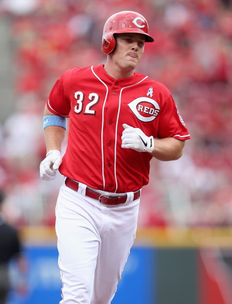 CINCINNATI, OH - JUNE 16:  Jay Bruce #32 of the Cincinnati Reds runs the bases after hitting a home run during the game against the Milwaukee Brewers at Great American Ball Park on June 16, 2013 in Cincinnati, Ohio.  (Photo by Andy Lyons/Getty Images)